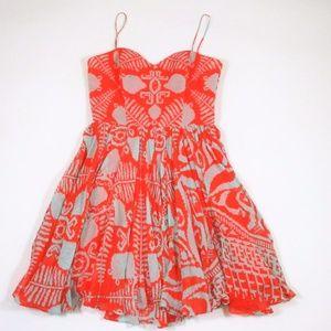 Milly NY 4 Silk Fit Flare Sundress Sweet Heart
